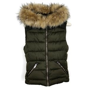 Zara Puffer Vest Hood Detachable Faux Fur Small